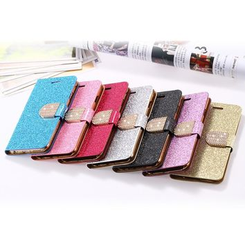 KISSCASE For iPhone 5 5S Case Glitter Bling Leather Cases For iPhone 5 5S SE 6 6s 7 Plus Stand Flip Cover Jewelled Case For Girl