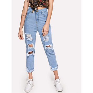 Extreme Distressing Jeans Casual