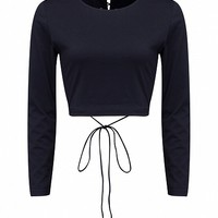 Black Tie Up Back Long Sleeve Tight Crop Top - Choies.com