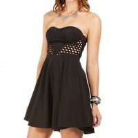 Black Strapless Side Cage Dress