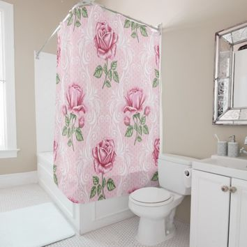 Elegant shabby chic roseate shower curtain