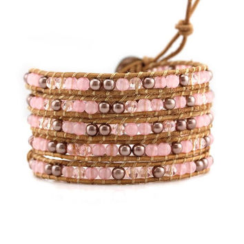 Rose Gold Pearl and Rose Quartz on Natural Leather Wrap Bracelet d79bb3285e