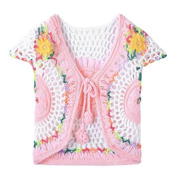 Spring Handmade Baby Girls Crochet Knitted Cardigan Waistcoat Vest Clothing Child Girls Sleeveless Cute Outerwear Outfits