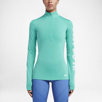 Nike Pro Warm Women's Long Sleeve 1/4 Zip Up Jacket Top Hyper Jade 803149-317