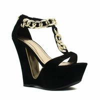 Chain Smokin' Strappy Cut-Out Wedges - GoJane.com