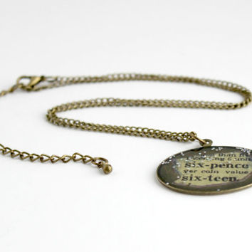 Small Antique Gold Sixpence Chain Pendant - Handmade Glitter Keepsake Necklace - Good Luck Jewelry - Ready to Ship