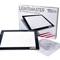 "US ART SUPPLY® Lightmaster® Artist Size 18.75"" Diagonal Professional Artists (A4) 9""x12"" LED Lightbox Board- 12Volt Super-Bright Ultra-Thin 3/8"" Profile Light Box Pad with 110V AC Power Adapter & Dimmable LED Lamps. Now Includes for FREE: 1 Measuring Overl"