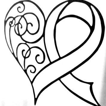 Car Decal Vinyl Decal - Vinyl Wall Decal - Cancer Ribbon - Awareness Ribbon - Cancer Awareness Ribbon - Awareness Ribbon Decal - Heart