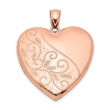 925 Sterling Silver Rose Gold-plated 24mm Scrolled Heart Family Locket