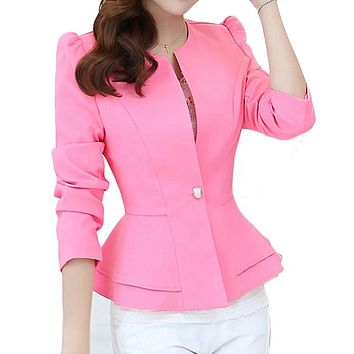 Ruffle Single Button Blazer For Women Spring 2017 New Fashion Casual Long Sleeves O-Neck Slim-Fit Suit Jacket Blazer Feminino