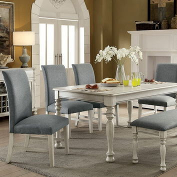 6 pc Siobhan collection antique white finish wood dining table set with gray chairs