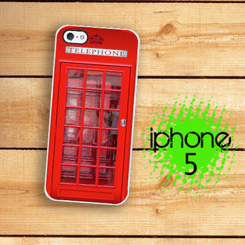 iPhone 5S Case | iPhone 5 UK Phone Booth Hard Case For iPhone 5 British Phone Box Plastic or Rubber Trim