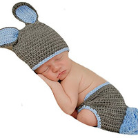 Melondipity Grey and Blue Bunny Hat and Diaper Cover Set
