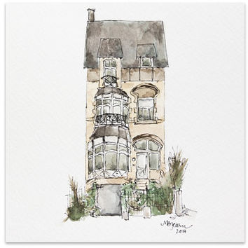 """Custom Home Portrait Illustration - Watercolor - 8""""x8"""" or 7""""x10"""" - Made to Order"""