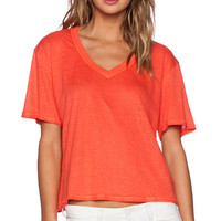 Heather Linen V Neck Top in Coral
