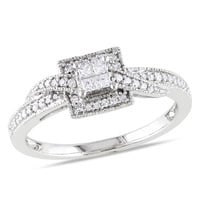 1/4 CT. T.W. Princess-Cut Quad Diamond Promise Ring in 10K White Gold