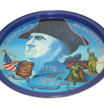 ON SALE Vintage Bicentennial Tray,Collectible Tin Tray