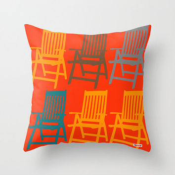 16 x16 Chairs Decorative throw pillow cover - Orange pillow cover - Modern pillow cover