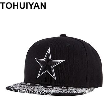 Trendy Winter Jacket TOHUIYAN Mens Star Embroidery Snapback Hat Street Dancing Hip Hop Caps Flat Visor Adjustable Baseball Cap Brand Women Casual Hat AT_92_12