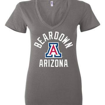 Official NCAA Venley University of Arizona Wildcats U of A Wilber Wildcat BEAR DOWN! Ladies Deep V-Neck - 08ua
