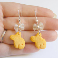 Goldfish Cracker Miniature Food Earrings- Miniature Food Jewelry
