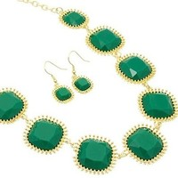 Emerald Green Stone Statement Necklace