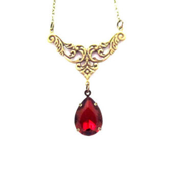 Garnet Red Necklace,  Vintage Red Rhinestone Necklace, Teardrop Rhinestone,January Birthstone, Valentine's Gift, 4tasteofshabbychic