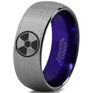 Incredible Hulk Inspired Purple Silver Dome Cut Tungsten Ring