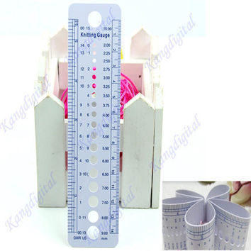 F85 UK US Canada Gauge Inch cm Ruler Tool All In One Knitting Needle Sizes