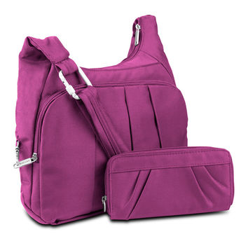 Travelon Anti-Theft Convertible Hobo with RFID Blocking Wallet, Orchid