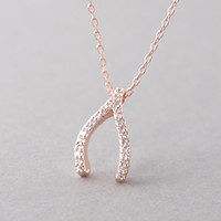PAVE SWAROVSKI ROSE GOLD WISHBONE NECKLACE STERLING SILVER WISHBONE from Kellinsilver.com - Sterling Silver Jewelry Stores