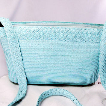 Baby Blue Purse Signed Liz Claiborne Pressed Straw Design Shoulder Strap Clutch Wedding Vintage Item 1078