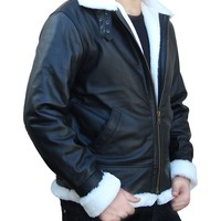 OutfitMakers Men's Black Vintage Shearling B3 Bomber Jacket