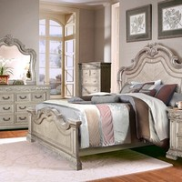 5 pc Christina collection antique white wood toned finish headboard queen bedroom set
