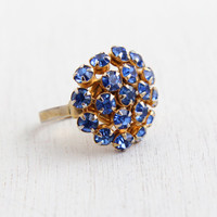 Vintage Blue Rhinestone Ring - Statement Adjustable Gold Tone 1950s Costume Jewelry Cocktail Ring / Blue Cluster