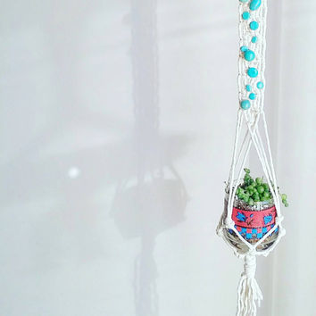 Shabby Chic Turquoise Hanging Planter- Wall Accent- Bohemian Decor- Dorm Decor~ Planter~ Modern Macrame- White Wall Accent- Boho Home Decor