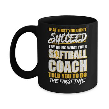 If At First You Don't Succeed Funny Softball Coach Mug