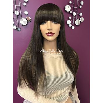 Brown balayage full wig| large flowy bangs | Soft blended human hair| #11841 I Will Survive