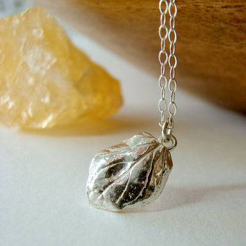 Silver Leaf Charm Necklace. Petite Leaf Pendant. Jewelry for Nature Lovers