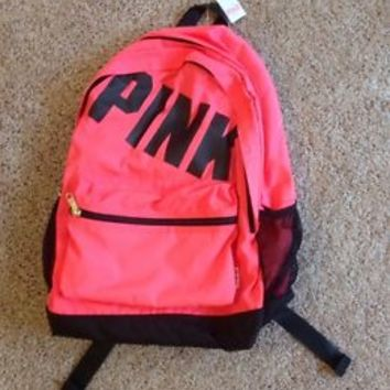 VICTORIA'S SECRET PINK NEON PINK BLACK CAMPUS BACKPACK BOOKBAG - NEW!