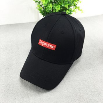 Black Supreme Embroidered Adjustable Baseball Cap Hats