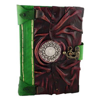 Round Celtic Pattern Cast On A Large Red Leather Journal / Notebook / Diary / Sketchbook / Leatherbound