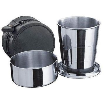 Large convenient Personal Telescopic Shot Cup / Glass with Black Leather Carrying Case
