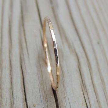 Ultra Skinny 14kt Yellow SOLID GOLD Single Stackable Ring // Slim Hammered Stackable Ring in Gold // made to order
