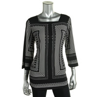 JM Collection Womens Matte Jersey Embellished Pullover Top