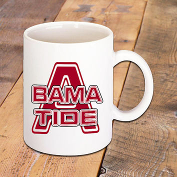 Bama Tide Coffee Mug, Coffee Lovers, Alabama Crimson Tide, College Football, Hot Drinks, Hot Tea, Espresso, Cappuccino, Latte, 11 oz. Mug