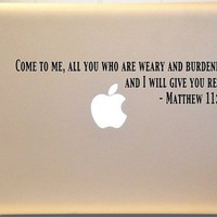 Macbook Matthew 11:28 Bible Verse Decal Mac Laptop