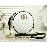 Gucci Trending Popular Women Leather Multicolor Circular Satchel Crossbody Shoulder Bag White