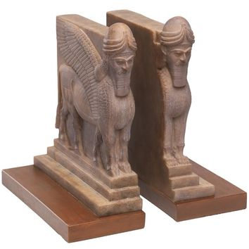 Assyrian Lamassu Lion and Bull Palace Guard Bookends 9.5H