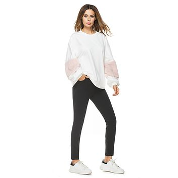 FLUFFY Sleeve Patchwork Sweat Shirt
